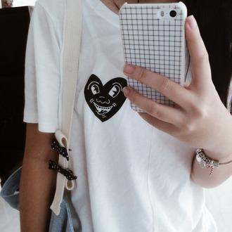 shirt t-shirt tumblr tumblr outfit phone case grid white