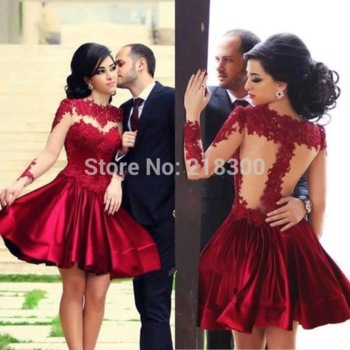 c51d0c4f3c7 Aliexpress.com   Buy Backless Long Sleeves Burgundy Lace Short Prom Dresses  Kardashian Dress for Prom Cheap ...