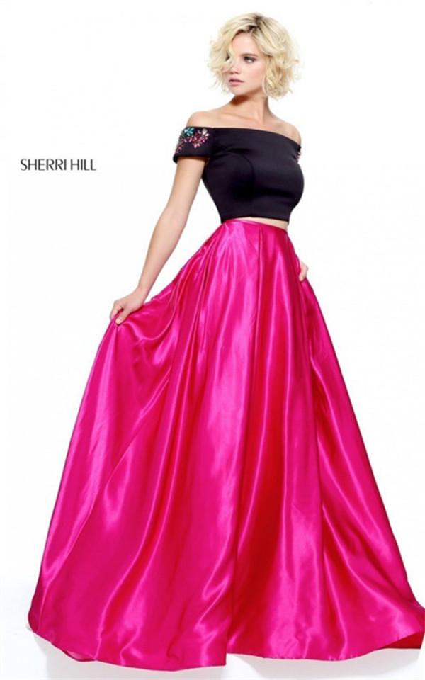2 PC Princess Prom Sherri Hill 51101 Stones Black/Fuchsia Long Dress ...