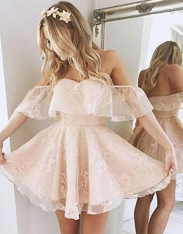 Cute tulle lace short prom dress, cute homecoming dress - 24prom