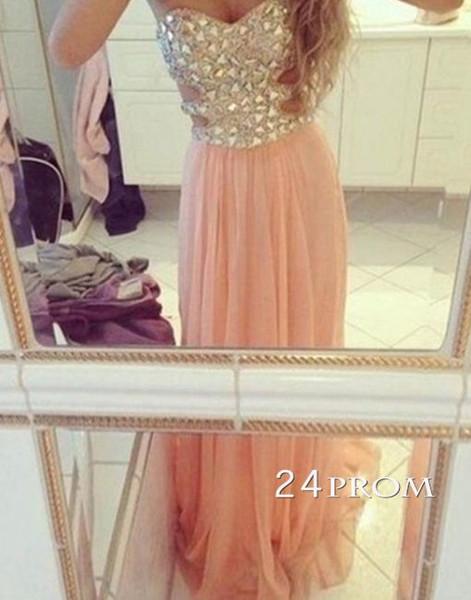 A-line Strapless Rhinestone Long Prom Dresses, Evening Dresses - 24prom