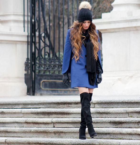 madame rosa blogger gloves pom pom beanie blue coat knee high boots