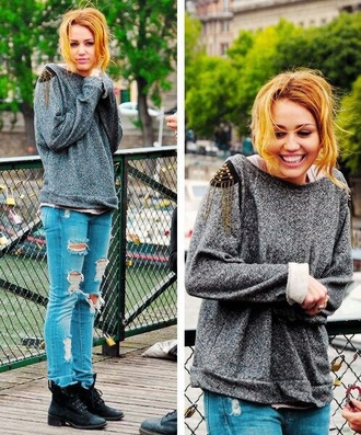 sweater miley cyrus grey sweater movies winter outfits winter sweater fall outfits fall sweater fall colors