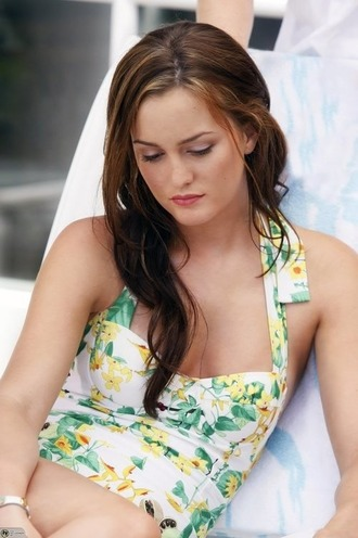 dress swimwear leighton meester 50s style floral one piece swimsuit blair waldorf gossip girl