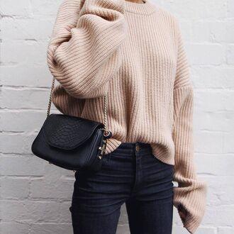 sweater tumblr beige sweater oversized sweater oversized bag black bag chain bag jeans denim blue jeans