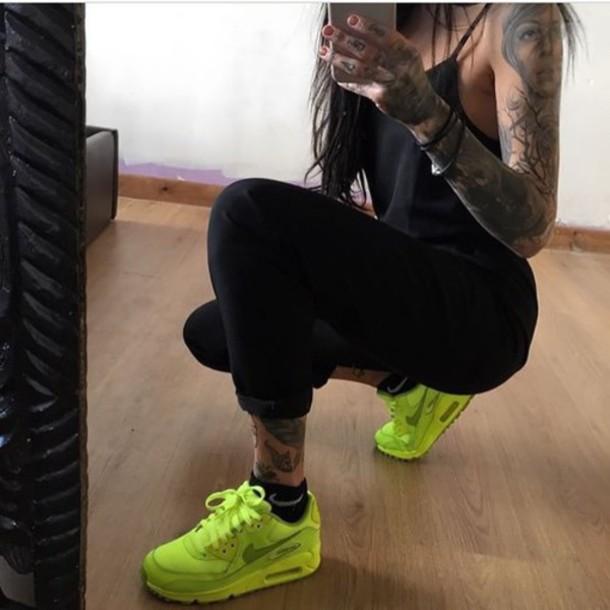 shoes nike nike air max 90 classy yellow green tattoo black girl