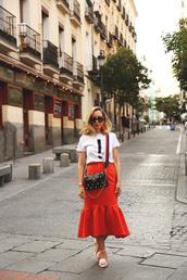 shoes,skirt,tumblr,pink shoes,mid heel pumps,midi skirt,red skirt,asos,t-shirt,white t-shirt,bag,embellished bag,embellished