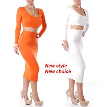New 2014 Hot Selling Wholesale White girl eveing novelty  vestidos Black High Waisted Cropped  2 Piece Casual Bodycon Dress-in Dresses from Apparel & Accessories on Aliexpress.com