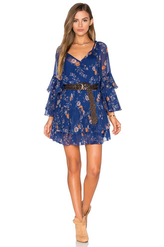 dress printed dress blue