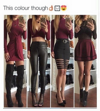 burgundy black black leggings leather leggings burgundy skirt thigh high boots fall outfits cut out crop top crop tops mesh top black top bodycon skirt skater skirt high waisted skirt draped dress fall dress pencil skirt black skirt sexy shoes fall colors suede boots long sleeve dress
