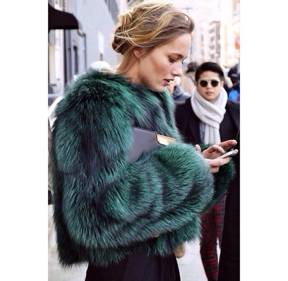 coat faux fur faux fur coat jacket green