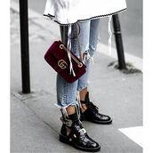 bag,tumblr,red bag,velvet,gucci,gucci bag,denim,jeans,blue jeans,cropped jeans,boots,black boots,cut-out ankle boots,ankle boots,buckle boots