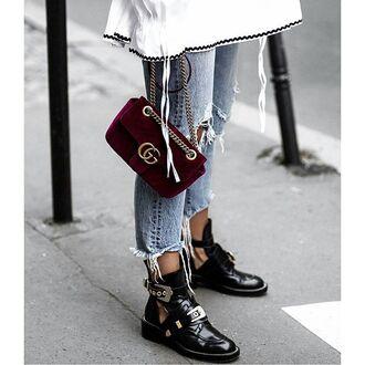 bag tumblr red bag velvet gucci gucci bag denim jeans blue jeans cropped jeans boots black boots cut-out ankle boots ankle boots buckle boots