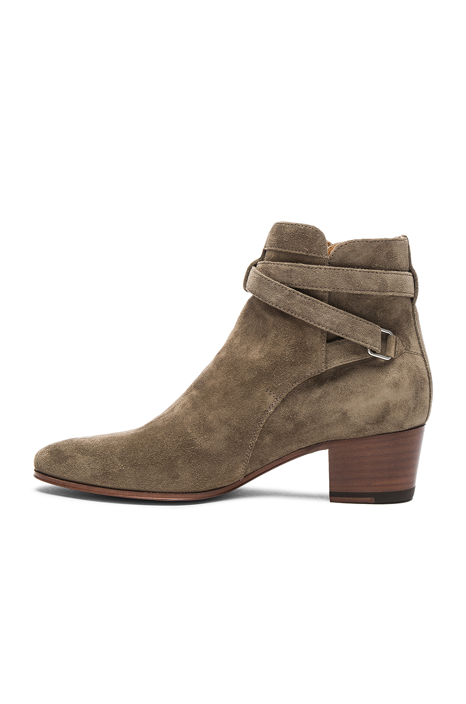 ee0be4b5015 Saint Laurent Suede Blake Buckle Boots in Kaki Washed | FWRD