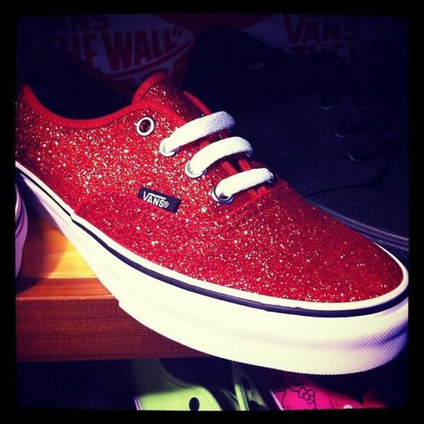 shoes red glitter vans 812e5ffe1