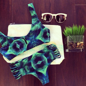 swimwear bikini pattern summer feathers