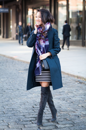 wendy's lookbook,blogger,bag,scarf,jewels,stripes,tartan,coat,thigh high boots,fall outfits