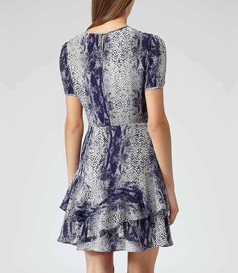 Roe Snake Indigo Fit And Flare Printed Dress - REISS