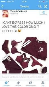 sweater,red wine,pink by victorias secret,jumpsuit,bergundy,everything,pants,shirt,bra,burgundy,top,swimwear,sweatshirt,leggings,underwear,lace,silk,red,sexy,panties,lacy bra,matching set,love,pretty,beautiful,sweatpants,la,cute,prettu,marron,tumblr,maroon/burgundy,maroon/burgendy,yoga pants,tracksuit,jacket,victoria's secret,jumper,pink,varsity,varsity jacket,purple sweater,lingerie,joggers,burgundy sweater,burgundy lingerie,lingerie set