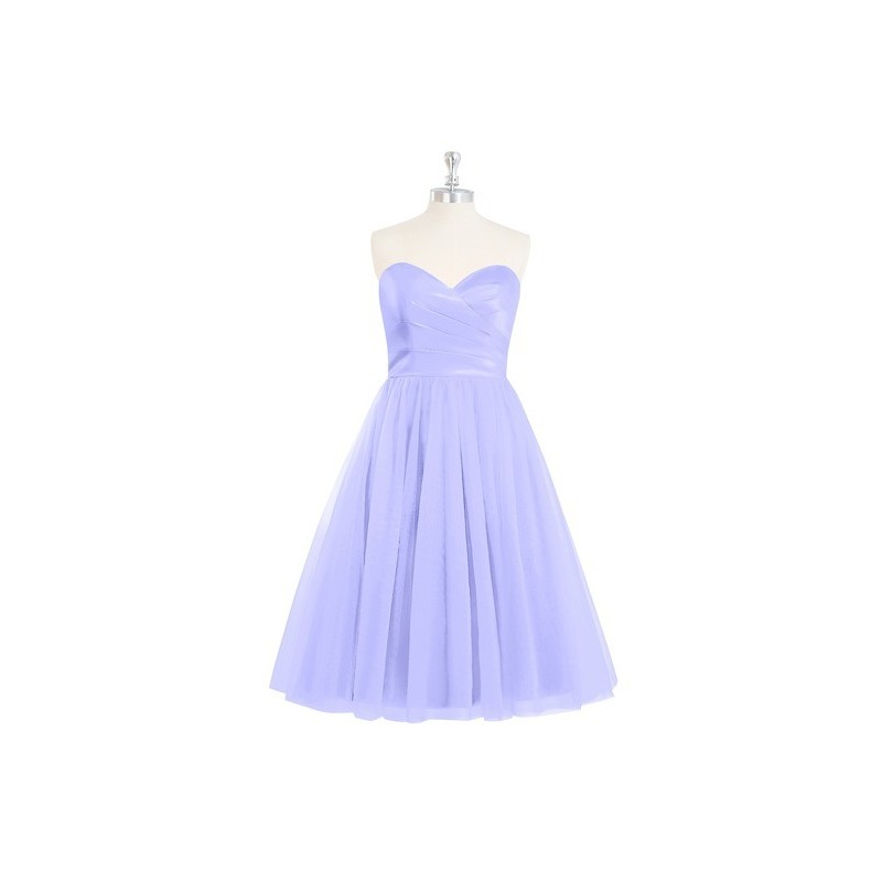 Lavender Azazie Reina - Tulle And Satin Knee Length Corset Sweetheart Dress - Charming Bridesmaids Store