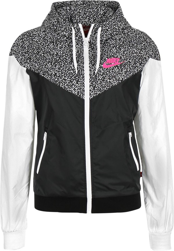 nike windrunner aop jacket women 39 s black white hyper pink coat jacket and clothing. Black Bedroom Furniture Sets. Home Design Ideas