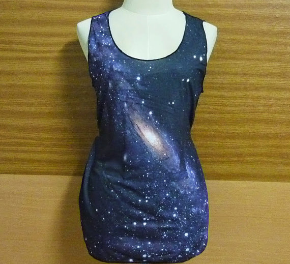 Ladies shirt gray galaxy tank top sky nebula gray violet cosmic thin shirt universe sleeveles teen singlet ladies tee size m l