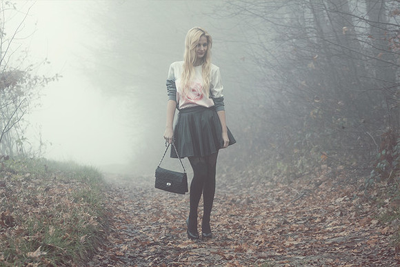 blogger ombre charmeuse roses sweater pleated skirt forest green