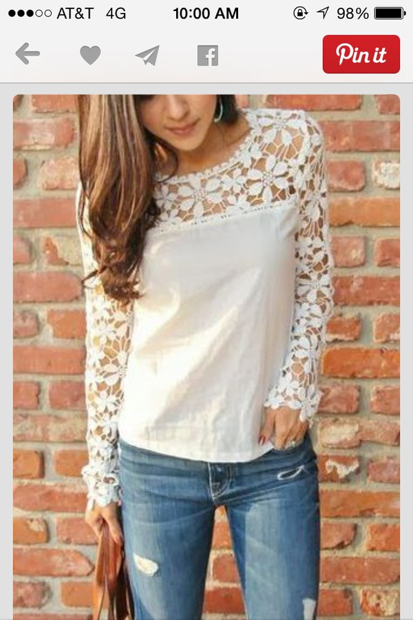 blouse lace white shirt