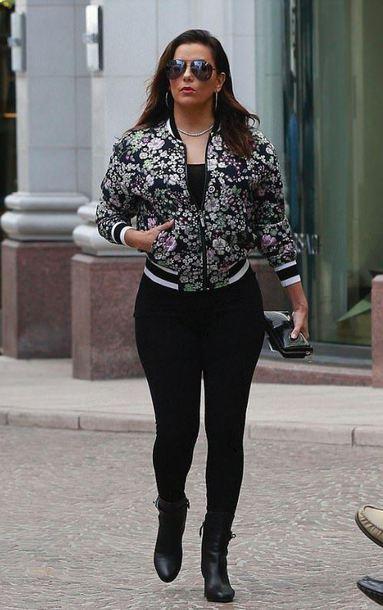 jacket bomber jacket streetstyle celebrity eva longoria fall outfits floral