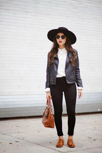 shoes black hat white shirt black leather jacket black jeans brown bag blogger sunglasses brown oxford shoes