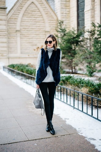 see anna jane blogger jacket sweater jeans shoes bag black fur vest turtleneck sweater turtleneck pants skinny pants grey bag