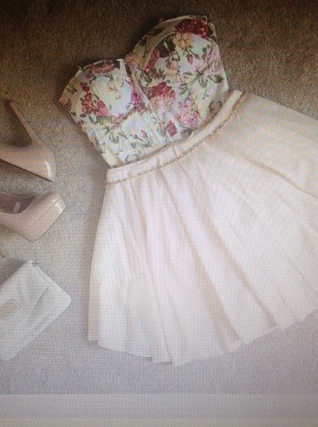 dress cream strapless floral dress