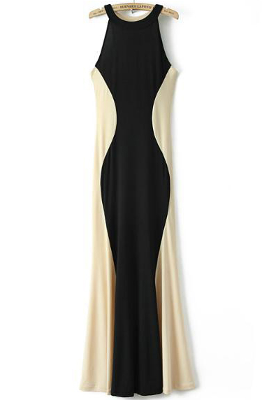 Black Contrast Apricot Sleeveless Slim Maxi Dress - Sheinside.com