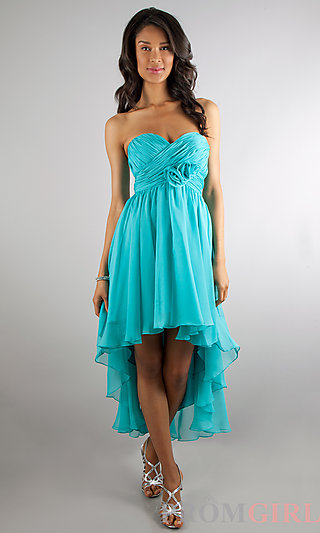 High Low Strapless Party Dress, Strapless Prom Dresses- PromGirl