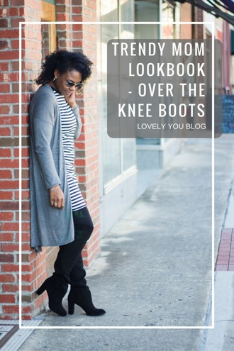 lovelyyou blogger cardigan dress shoes sunglasses striped dress boots over the knee boots winter outfits