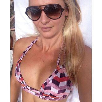 swimwear montce swim bikini top designer bikini designer top mosaic print braided braided bikini triangle bikini triangle bikini top purple red pink burgundy