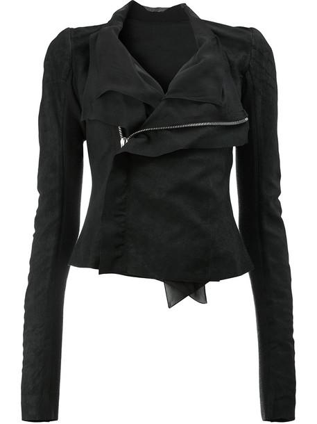 Rick Owens jacket biker jacket women black silk wool