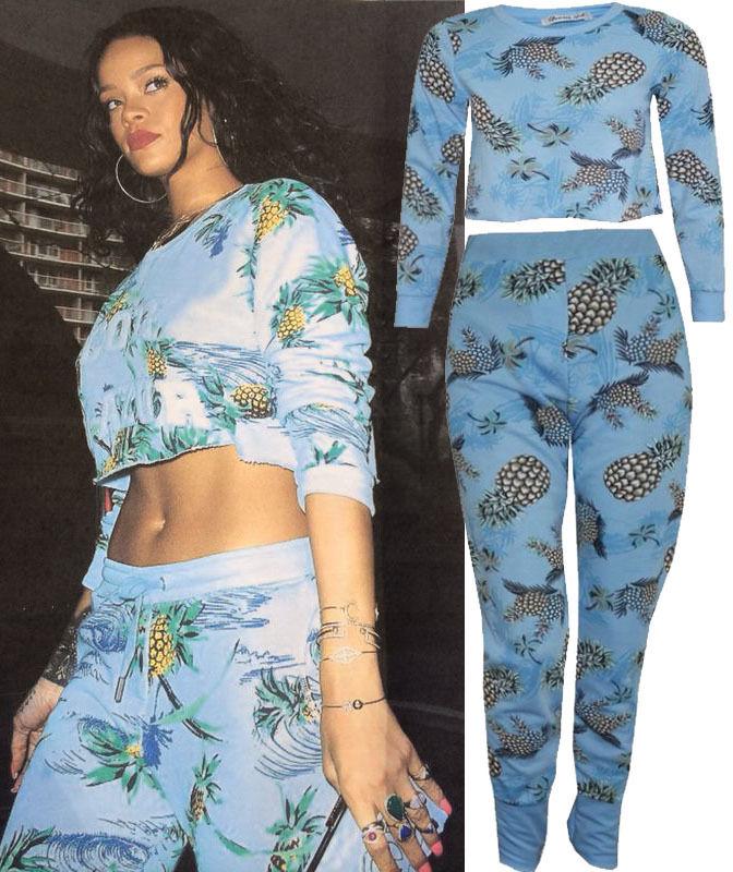 blue celebrity rhin pineapple print crop top bottom set womens dress