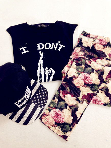 hat snapback floral cap fashion cool top outfits tank top vest crop tops t-shirt shirt clothes pants leggings