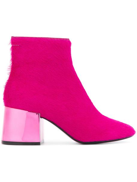 Mm6 Maison Margiela fur metallic women ankle boots leather purple pink shoes