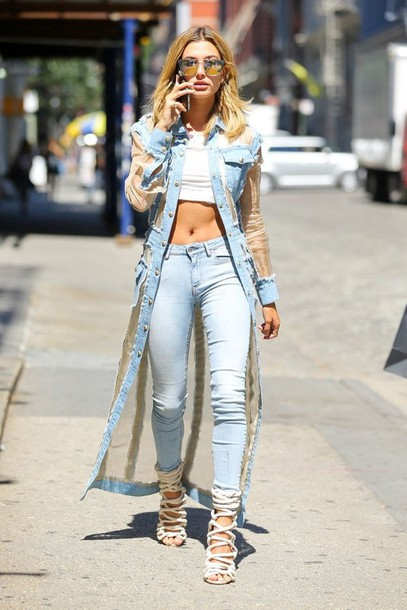jeans coat sandals sunglasses hailey baldwin crop tops model off-duty streetstyle shoes blue long coat denim denim jacket long jacket