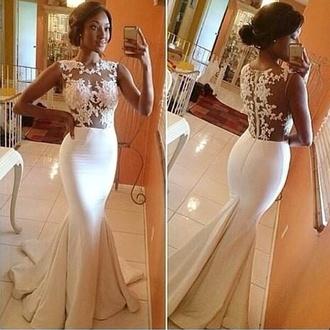 formal dress formal white dress lace dress mermaid prom dresses evening dress cute
