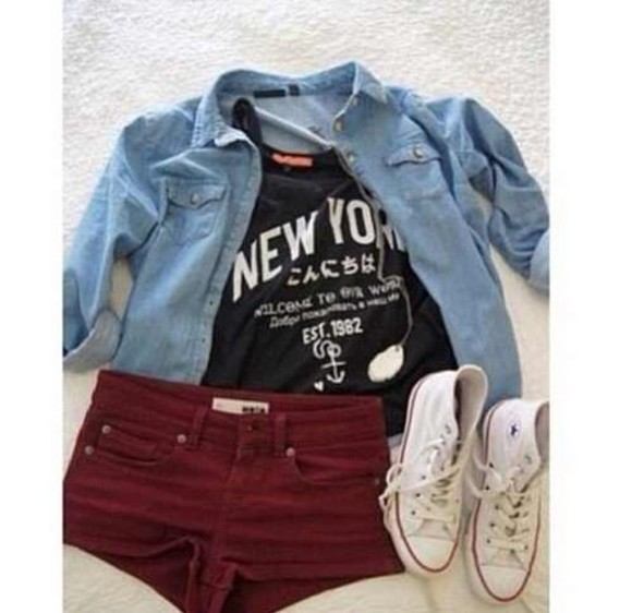 red shorts shirt jacket converse convetse jean jacket black shirt graphic tee boho hipsyer grunge alternative