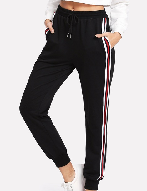 pants girly black white red stripes joggers joggers pants