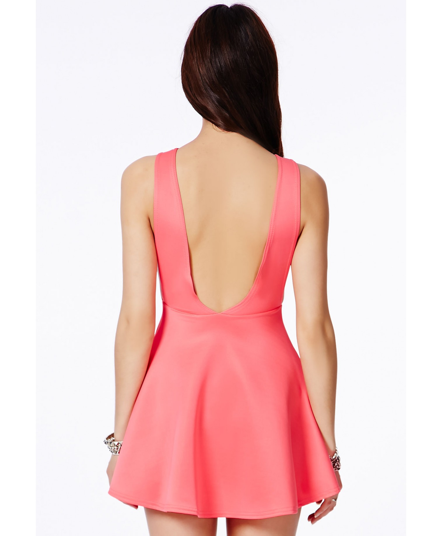 Missguided - Marenna Backless Skater Dress In Coral