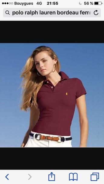 t-shirt, bordeau, ralph lauren, ralph lauren femme, polo shirt, polo ... 31c1524970c0