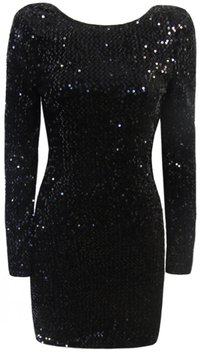 Stretchy Black Sequin Long Sleeved Open Back Dress - En Vogue