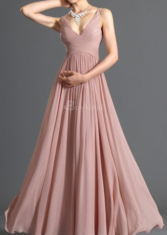 dress pale rose dress chiffon v neck v neck dress lace dress long prom dress long dress prom