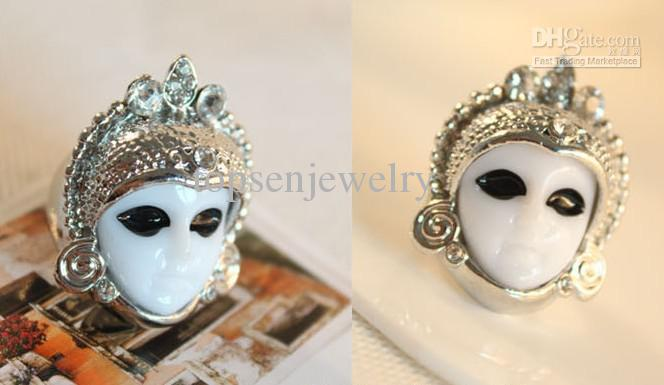 Wholesale Cute Gold and Silver Tone Crystal Egypt Baby Doll Ring Porcelain Face Mask Rings, Free shipping, $1.26/Piece | DHgate Mobile