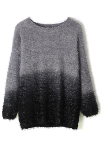 sweater black color ombre fluffy